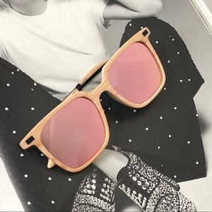 DOWNTOWN- Pink Wood Squared Mirrored Sunglasses